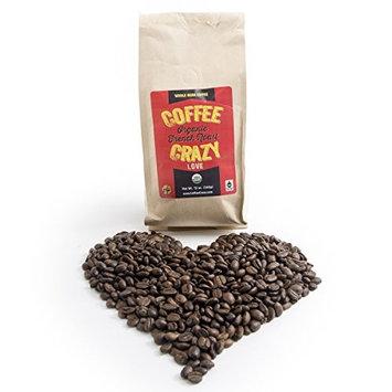 CoffeeCrazy Premium USDA Organic, 12 0z - Fair Trade French Roast whole Bean Coffee (Whole Coffee Beans)