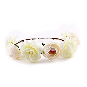EBTOYS Flower Crown Flower Wreath Floral Headband for Festival Wedding Party Favors (White)