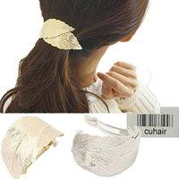 cuhair 1pcs Metal Leaf Camellia Pendant Hair Clip Hair Accessories Braid Dreadlock Spiral Women Girl (Leaf)