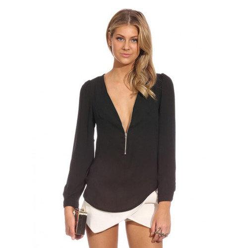 Chns Women Long Sleeve V Neck Shirt blouse