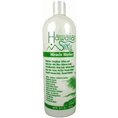 Hawaiian Silky Leave In Conditioner Keratin Oil Frizz-Free 32 oz - Jojoba Oil Enriched - Damaged Scalp Solution - for Color Treated Hair Men, Women and Kids