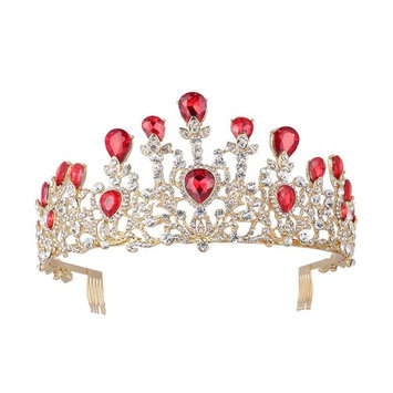 Frcolor Bridal Crown Queen Tiara with Side Comb Wedding Crystal Rhinestone Jewelry (Red)
