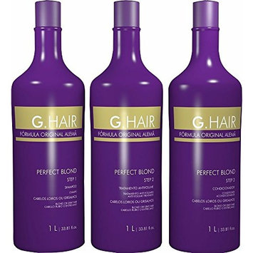 Inoar G.Hair Perfect Blond Keratin Hair Straightening Smoothing System Progressive Brush and Toning 3L