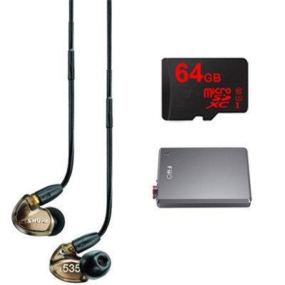 Shure Sound Isolating Triple Driver Earphone w Detachable Cable-Bronze w/ FiiO E12 Amp
