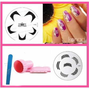 Bundle 3 Items:konad Nail Art New Image Plates M86 + M44 + Stamper & Scraper + A-viva File