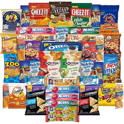 Cookies Chips & Candies Snacks Variety Pack Bulk Sampler Assortment (Care Package 42 Count)
