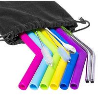 GSTECK Reusable Straws Silicone Stainless Steel Straws - Set of 10 Drinking 10.5 Inch 20 30oz Extra Long 1 Bar Spoon - for Tumblers Rumblers Cold Beverage (Multi-Color)