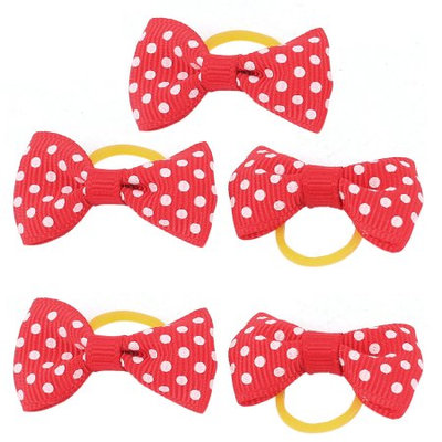 Pet Dog Dots Pattern Hair Grooming Rubber Bands Clips Hairpins 5 Pcs Red