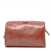 Maxwell-Scott® Premium Quality Tan Handmade Italian Full Grain Leather Mens Wash Bag (The DunoM)