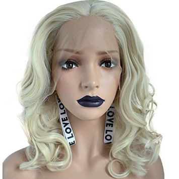 Anogol Hair Cap+Synthetic Lace Front Wig Shoulder Length Water Wave Blonde Hair Half Hand Tied Heat Resistant Wigs For Women