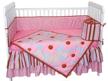 Tadpoles Field of Flowers 4 Piece Crib Set in Pink and Periwinkle