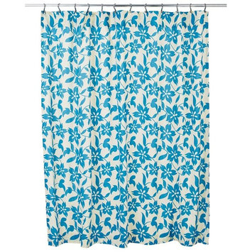 VHC Brands 29370 72 x 72 in. Briar Azure Shower Curtain - Marzipan, Blue Topaz