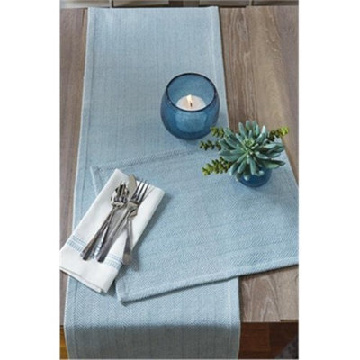 Split P 3518-012LB Herringbone Table Runner Blue Mist