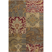 5.25' x 7.25' Feuille Patchwork Olive Green and Burgundy Shed-Free Rectangular Throw Rug