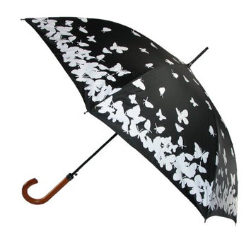 RainStopper Womens Water Activated Color Changing Butterfly Print Umbrella