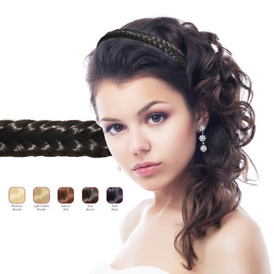 Hollywood Hair Fish Tail Braid Headband - Bold Black