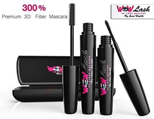 WOW Lash 3D Fiber lash Mascara - 2 Tubes & Case - Best Thickening & Lengthening Hypoallergenic Formula for Short Sensitive Eyes - Younique Smudge Proof Plus Sweat Proof