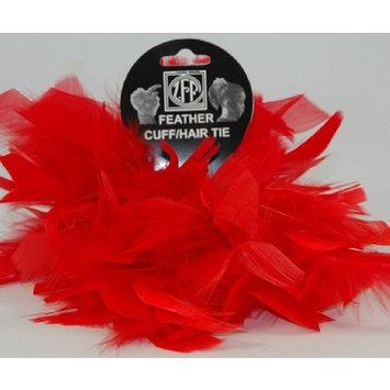 Zucker Feather 2 Red Chandelle Feather Hair Tie Scrunchy Pony Tail Holder
