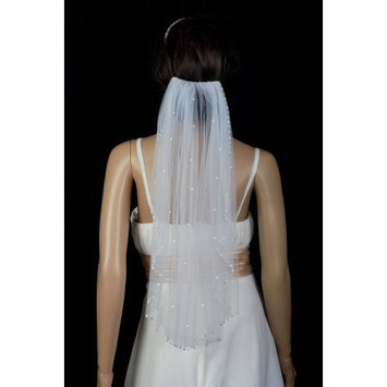 Bridal Wedding Veil Ivory 1 Tier Shoulder Length Beaded With Crystals