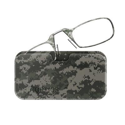 ThinOptics Reading Glasses + Universal Pod Case | Camouflage Collection, Digital Grey, 2.00 Strength