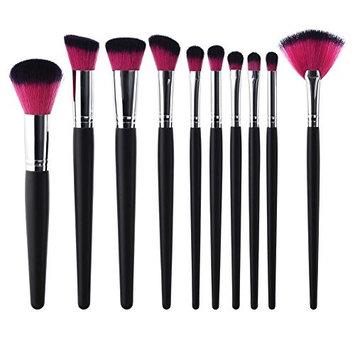 10pcs Wood Handle Fan Shape Flat Head Powder Eyeshadow Makeup Brushes Set