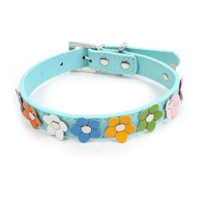 Single Prong Buckle Flower Accent Pet Dog Neck Collar Belt Blue Size M