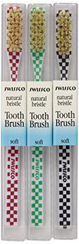 Swissco Tooth Brush Checks Natural Bristle Soft