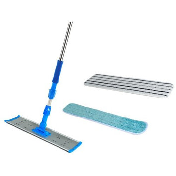 24 inch Microfiber Mop Stainless Steel Heavy Duty Concave Commercial Mop Kit with 2 Pads and a Mop Pad Finish Tool
