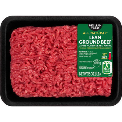 93% Lean/7% Fat, Lean Ground Beef Tray, 1 lb