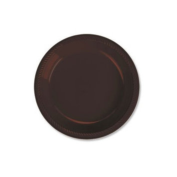 Party Ready Disposable Round Luncheon Plates Tableware, Chocolate Brown, Plastic , 9