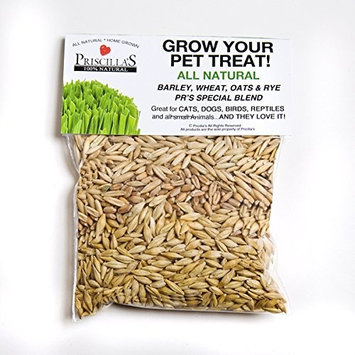 Priscillas Kitty Cat Pet Grass Seed Refill Pack (Barley, Oats, Wheat and Rye) Over 3 OZ.