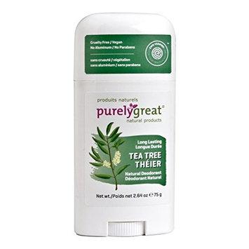 Purelygreat Natural Deodorant Stick - Tea Tree - EWG Verified - Vegan, Cruelty Free - No Aluminum, No Parabens - Essential Oils