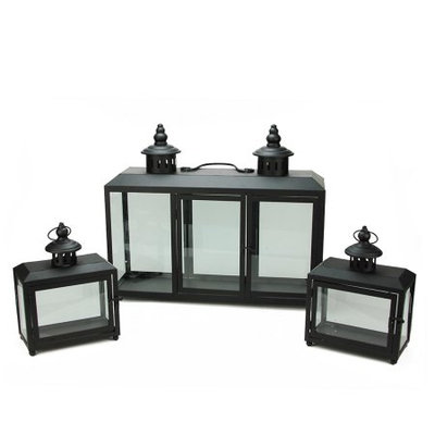 Set of 3 Decorative Black Wide Colonial Design Glass Pillar Candle Lanterns 7.75