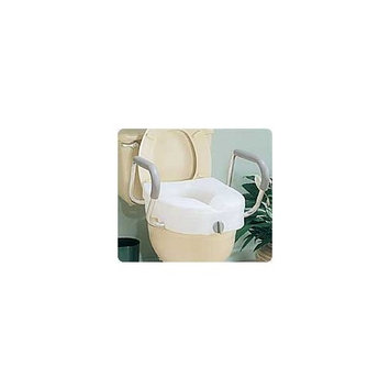 Carex E-Z Lock Raised Toilet Seat With Handles, Adds 5 Inches to Toilet Height, Toilet Seat Riser For Elderly or Handicap