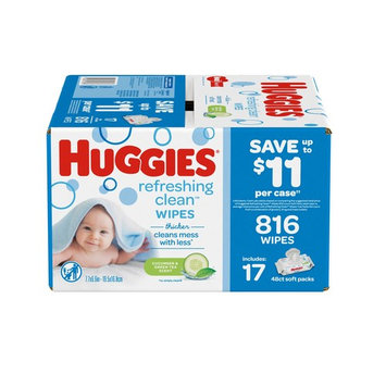 Huggies Refreshing Clean Cucumber and Green Tea Scented Baby Wipes, 17 pk./48 ct.