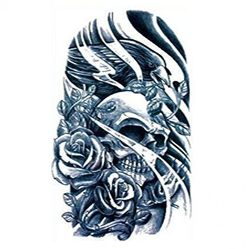 Grashine Halloween Tattoo for men and women black and white skull and roses temporary tattoo stickers