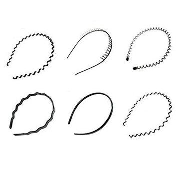 6 PCS Black Multi-style Spring Wave Metal and Plastic Hair Hoop Hairband Boy Girl Sports Headband Headwear Hair Accessory for Women Men