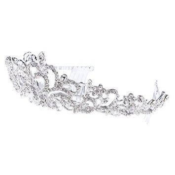 MonkeyJack Stunning Rhinestone Wedding Hair Crown Tiara with Comb Hair Accessories