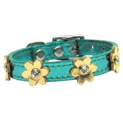 Mirage Pet Products 8308 10TqMGd Flower Leather Metallic Turquoise with Gold Flowers 10