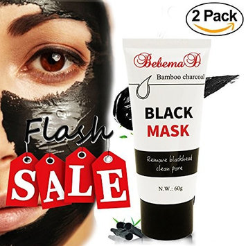 Blackhead Remover Mask (2 Pack) by Bebemad- Purifying Peel Off Mask Activated Charcoal for Face and Nose Professional Deep Pore Cleansing Premium Suction Black Mud Mask 60 g