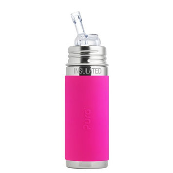Pura Kiki 9 oz / 260 ml Stainless Steel Insulated Bottle with Silicone Straw & Sleeve, Pink (Plastic Free, NonToxic Certified, BPA Free)