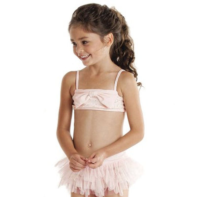 Biscotti Kate Mack Little Girls Pink Sequin Bow Ruffle UV Protection 2 Pc Swimsuit 2T