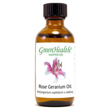 Rose Geranium Essential Oil - 2 fl oz (59 ml) Glass Bottle w/ Cap - 100% Pure Essential Oil by GreenHealth