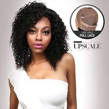 UpScale 100% Virgin Glueless Remi Human Hair Hand Made Unprocessed Brazilian Human Full Lace Wig Jerry Curl 150% Density NATURAL Color 16