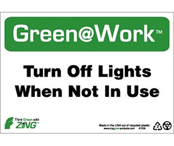 National Marker Sign, TURN OFF LIGHTS WHEN NOT IN USE, 7X10, RECYCLE PLASTIC (Pack of 2)