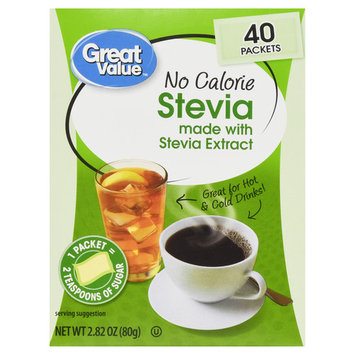 Great Value No Calorie Stevia Sweetener Packets, 2.28 Oz, 40 Ct (3 Pack)
