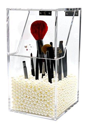 PuTwo Makeup Brush Holder Dustproof Storage Box Premium Quality 5mm Thick Acrylic Makeup Organizer