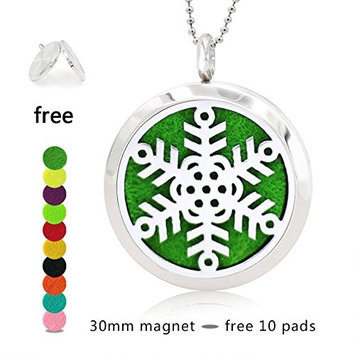 Silver Essential Oil Diffuser Necklace- YouMiYa Snowflake Shape Aromatherapy Essential Oil Diffuser Locket Magnetic Perfume 316L Stainless Steel Pendant Exquisite Gifts For Women