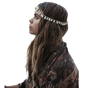OVERMAL Women's Bohemian Metal Head Chain Shell Headband Head Piece