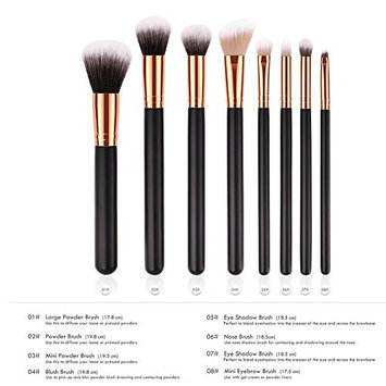ZHUOTOP 8pcs Wooden Black Gold Handle Brushes Set Powder Blush Eyeshadow Nose Mini Eyebrow Makeup Cosmetics Kit 8PCS